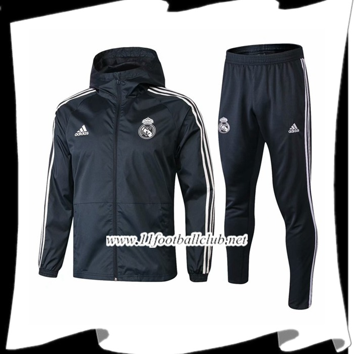 Le Nouveaux Ensemble Veste Coupe Vent Real Madrid Dark Gray 2018/2019 Flocage
