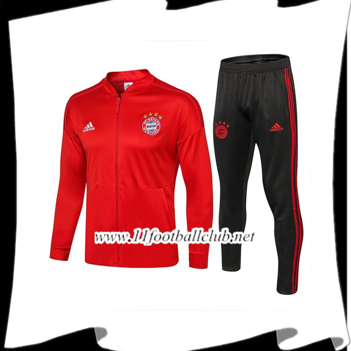 Le Nouveau Ensemble Survetement de Foot - Veste Bayern Munich Rouge 2018/2019 Officiel