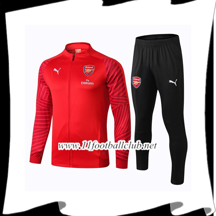 Le Nouveaux Ensemble Survetement de Foot - Veste Arsenal Rouge 2018/2019 Authentic