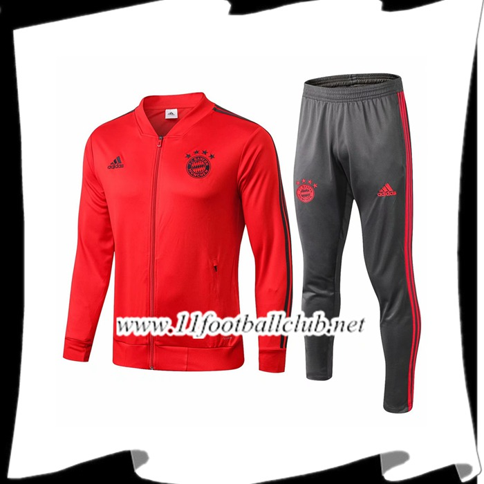 Le Nouveau Ensemble Veste Survetement Bayern Munich Rouge/Noir 2018/2019 Officiel