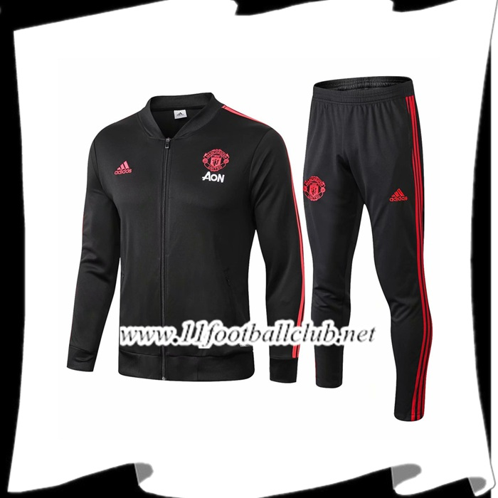 Le Nouveaux Ensemble Veste Survetement Manchester United Noir 2018/2019 Authentic