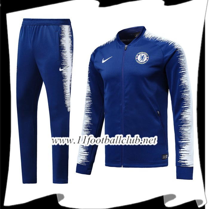 Le Nouveau Ensemble Survetement Foot - Veste FC Chelsea Bleu/Blanc 2018/2019 Officiel