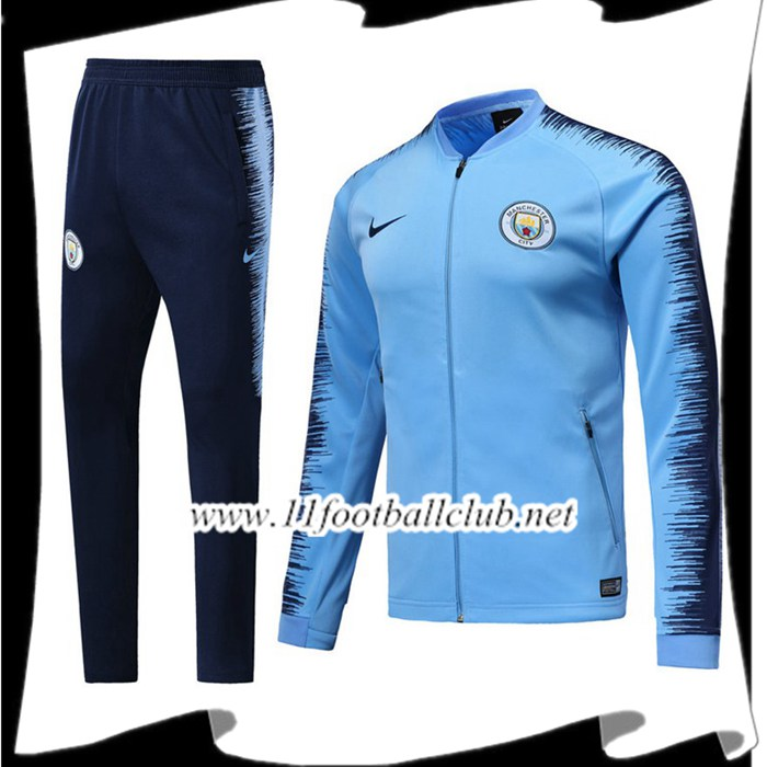 Le Nouveau Ensemble Survetement Foot - Veste Manchester City Bleu/Noir 2018/2019 Officiel