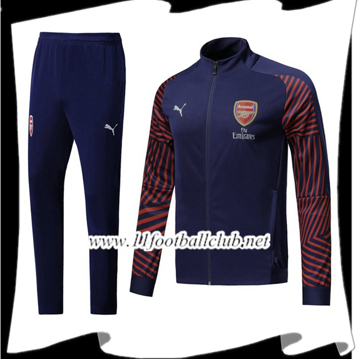 Le Nouveau Ensemble Survetement Foot - Veste Arsenal Bleu Fonce 2018/2019 Officiel