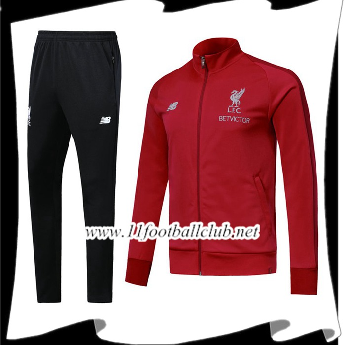 Le Nouveaux Ensemble Survetement Foot - Veste FC Liverpool Rouge 2018/2019 Authentic