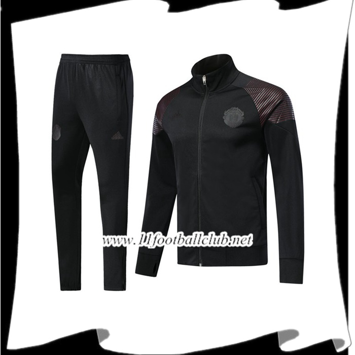 Boutique De Ensemble Survetement de Foot - Veste Manchester United Noir 2018/2019 Pas Cher Shopping