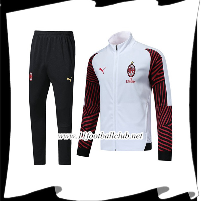 Boutique Ensemble Survetement de Foot - Veste Milan AC Blanc/Rouge 2018/2019 Pas Cher Outlet