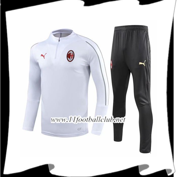 Magasin Ensemble Survetement de Foot Milan AC Blanc 2018/2019 Pas Cher Store