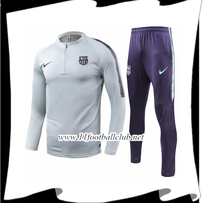 Site D Ensemble Survetement de Foot FC Barcelone Gris/Blanc 2018/2019 Pas Cher Online