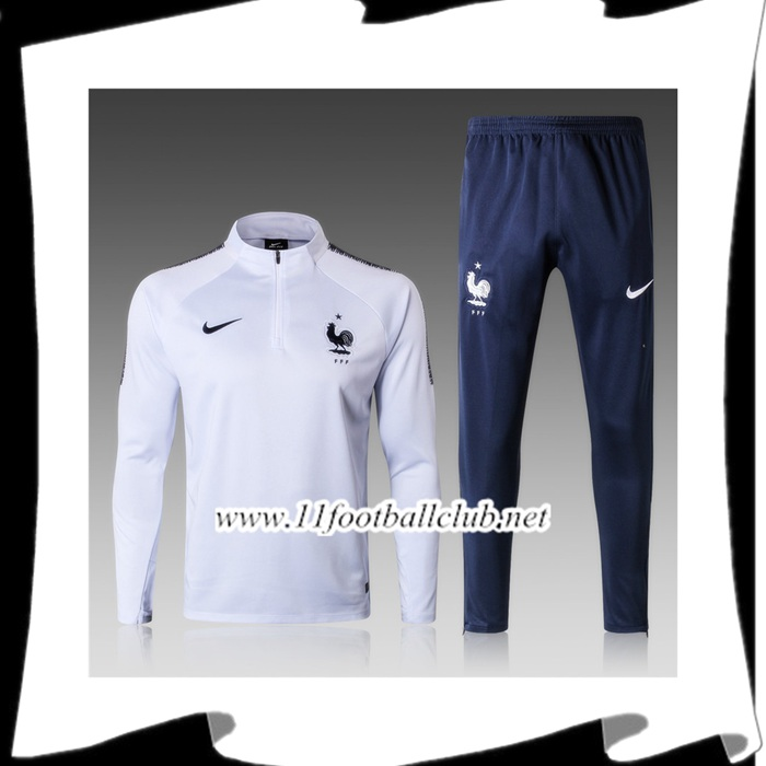 Le Nouveau Ensemble Survetement de Foot France Enfant Blanc 2018/2019 Vintage