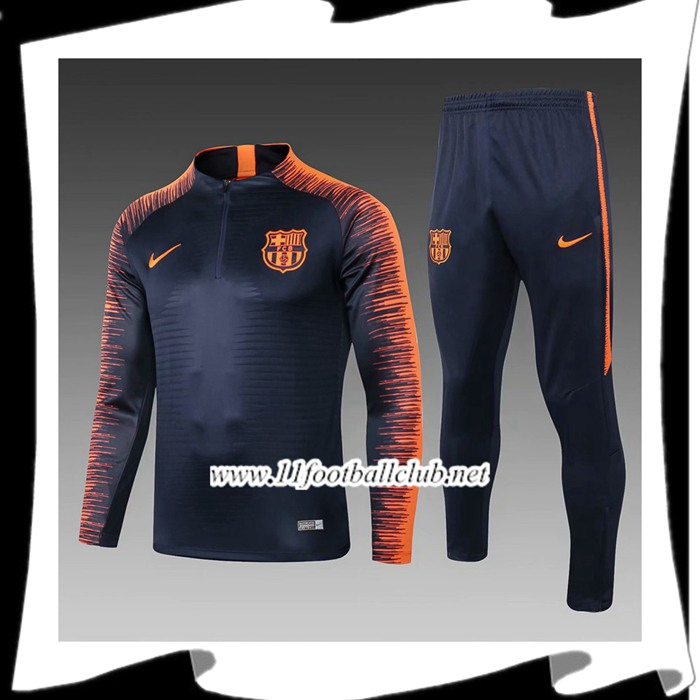 Le Nouveau Ensemble Survetement de Foot FC Barcelone Enfant Noir/Orange 2018/2019 Officiel
