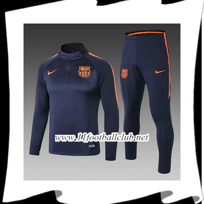 Le Nouveau Ensemble Survetement de Foot Barcelone Enfant Noir/Orange 2018/2019 Officiel