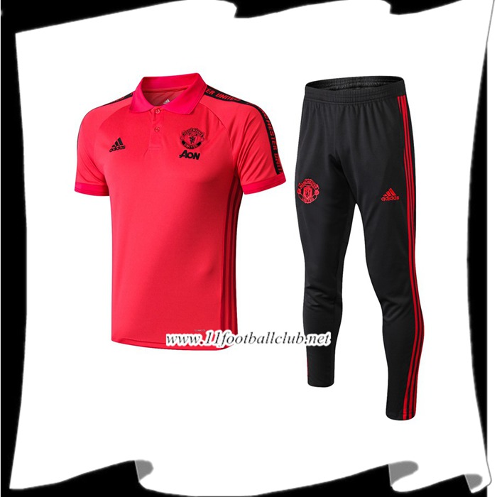 Le Nouveau Ensemble Polo Manchester United + Pantalon Rouge 2019/2020 Personnalisable