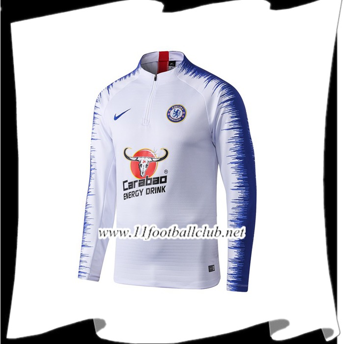 Le Nouveaux Sweatshirt Training FC Chelsea Blanc Strike Drill 2019/2020 Junior