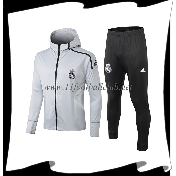 Le Nouveaux Ensemble Sweat A Capuche Survetement Real Madrid Gris Clair 2019/2020 Flocage