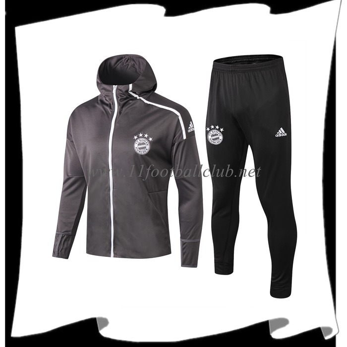 Le Nouveau Ensemble Sweat A Capuche Survetement Bayern Munich Gris 2019/2020 Personnalisable