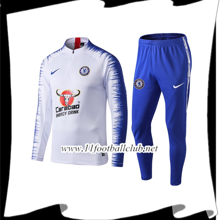 Le Nouveau Ensemble Survetement de Foot FC Chelsea Blanc Strike Drill 2019/2020 Vintage