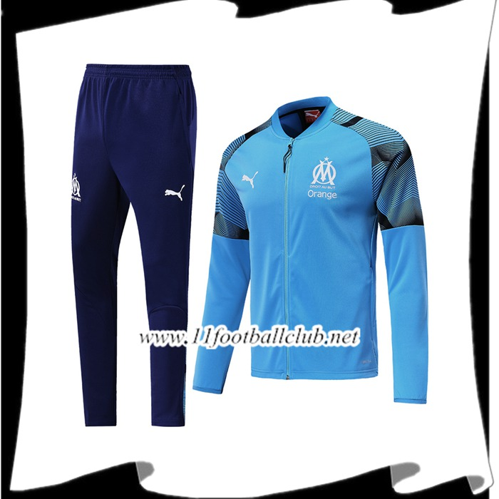 Le Nouveau Ensemble Survetement de Foot - Veste Marseille OM Bleu 2019/2020 Officiel