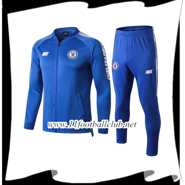 Le Nouveau Ensemble Survetement de Foot - Veste FC Chelsea Bleu 2019/2020 Officiel