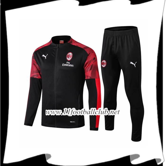 Le Nouveau Ensemble Veste Survetement Milan AC Noir/Rouge 2019/2020 Officiel