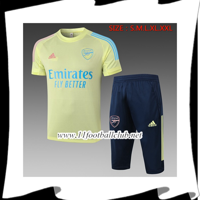 Le Nouveau Ensemble Training T-Shirts Arsenal + Pantalon 3/4 Jaune 2020/2021