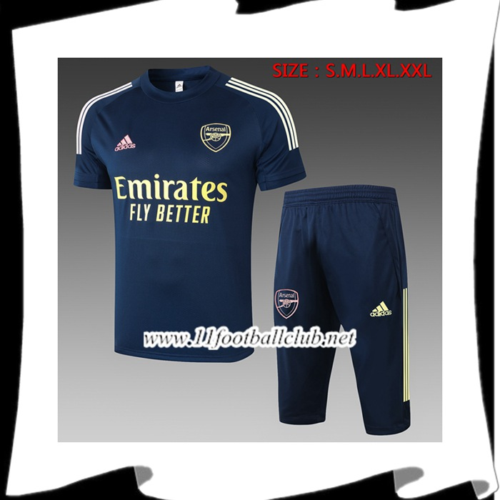 Le Nouveaux Ensemble Training T-Shirts Arsenal + Pantalon 3/4 Bleu Royal 2020/2021