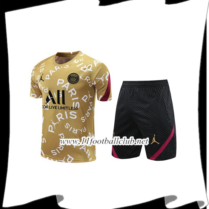 Le Nouveau Ensemble Training T-Shirts PSG + Shorts Jaune 2020/2021