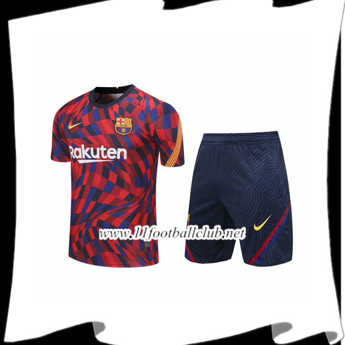 Le Nouveaux Ensemble Training T-Shirts FC Barcelone + Shorts Rouge 2020/2021