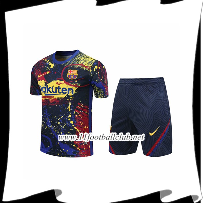 Le Nouveau Ensemble Training T-Shirts FC Barcelone + Shorts Jaune 2020/2021