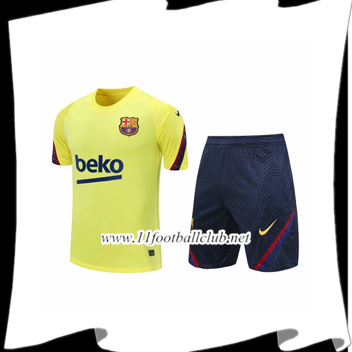Le Nouveaux Ensemble Training T-Shirts FC Barcelone + Shorts Jaune 2020/2021