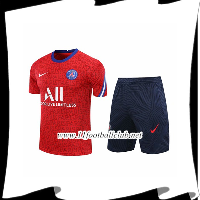 Le Nouveau Ensemble Training T-Shirts PSG + Shorts Rouge 2020/2021