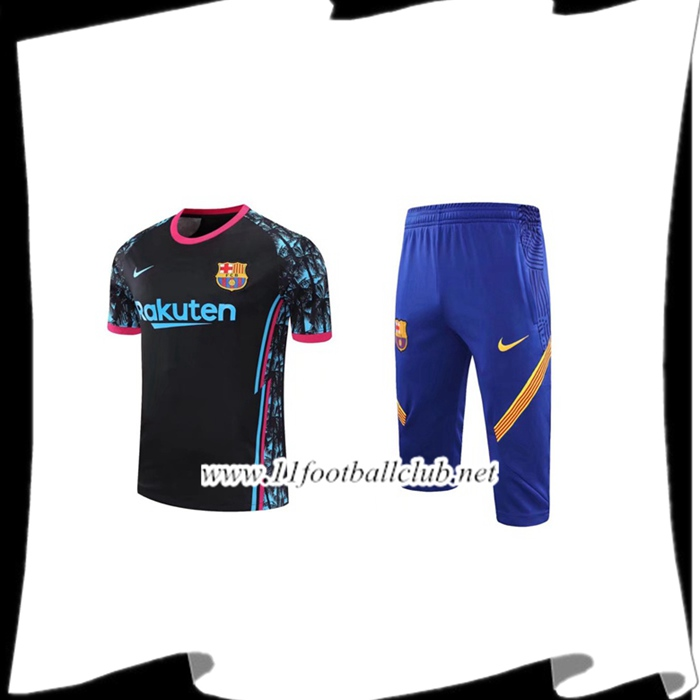 Le Nouveau Ensemble Training T-Shirts FC Barcelone + Pantalon 3/4 Noir 2020/2021