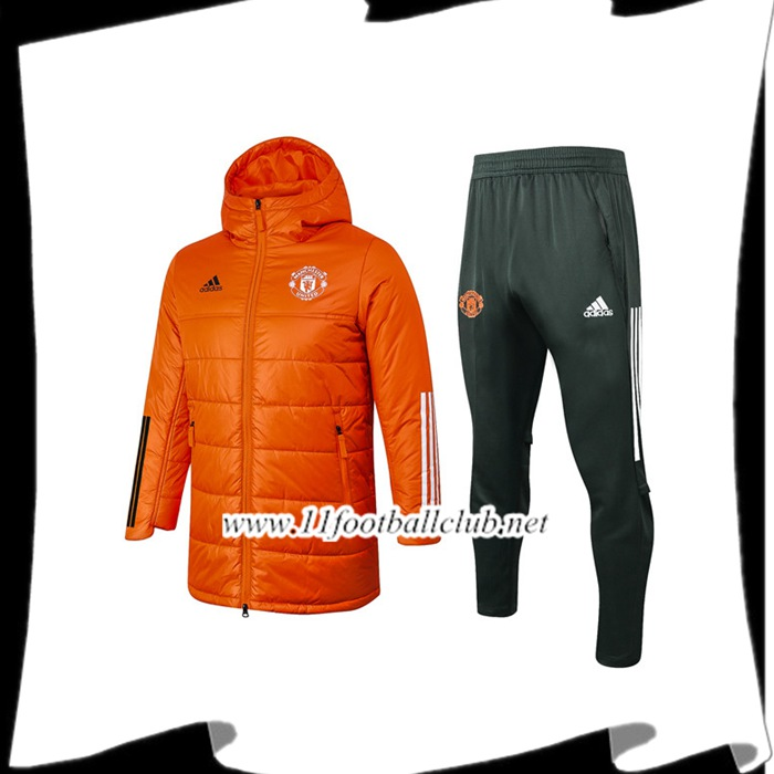 Le Nouveau Doudoune Foot Manchester United Orange + Pantalon 2020/2021