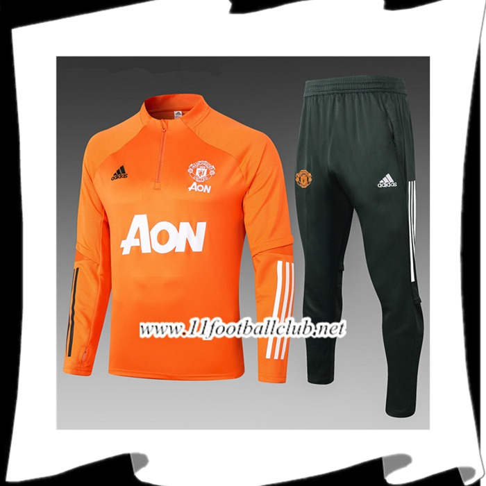 Le Nouveau Ensemble Survetement Manchester United Enfant Orange 2020/2021