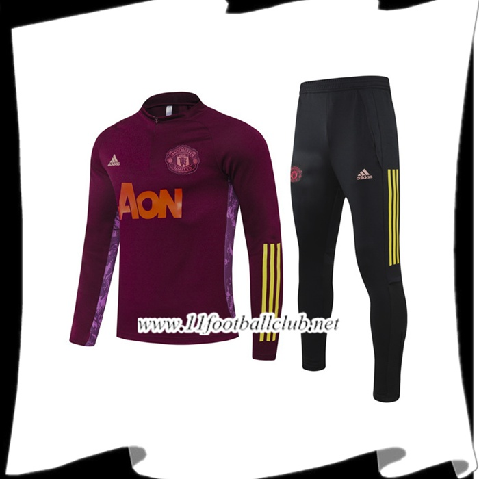 Le Nouveau Ensemble Survetement Manchester United Enfant Violet 2020/2021